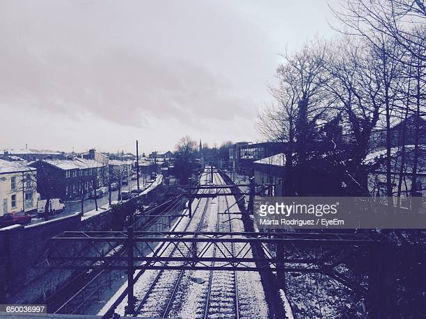 High Angle View Of Railroad Tracks During Winter