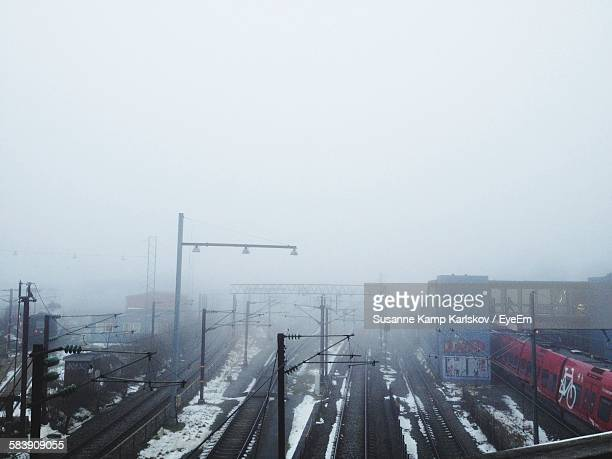 High Angle View Of Railroad Tracks In Winter