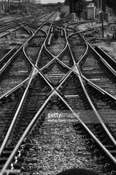 high angle view of railroad tracks - tramway stock pictures, royalty-free photos & images