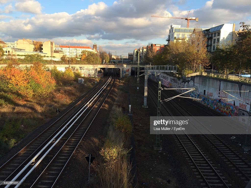 High Angle View Of Railroad Tracks : Foto stock