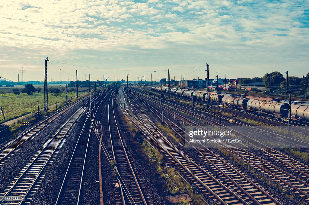High Angle View Of Railroad Tracks : Stock-Foto