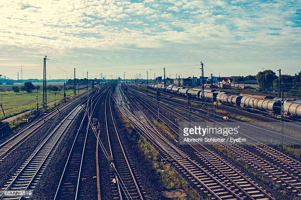 high angle view of railroad tracks - albrecht schlotter stock photos and pictures