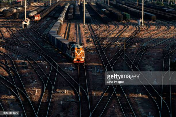 high angle view of railway tracks - 鄭州市 ストックフォトと画像