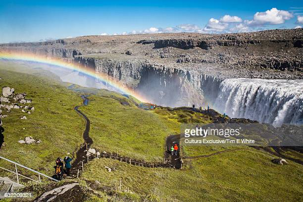 High angle view of rainbow above Dettifoss waterfall, Dettifoss, Iceland