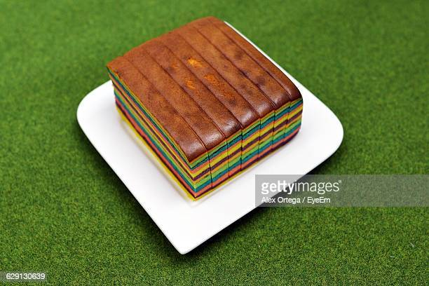 High Angle View Of Rainbow Cake