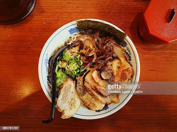 High Angle View Of Ramen Noodle Soup Served In Bowl