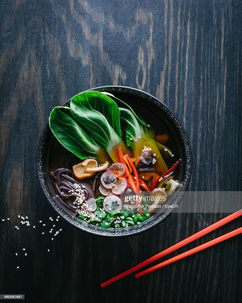 High Angle View Of Ramen Noodles In Bowl On Table : Stock Photo