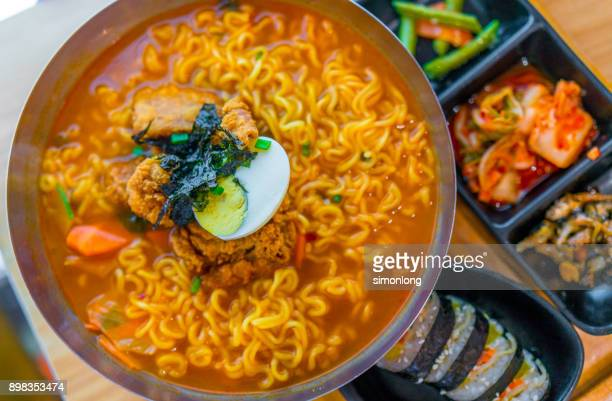 high angle view of ramyeon, korean food - global village stock pictures, royalty-free photos & images