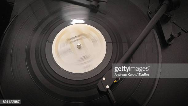 High Angle View Of Record On Turntable
