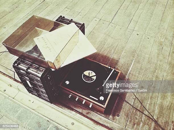 High Angle View Of Record Player On Floor