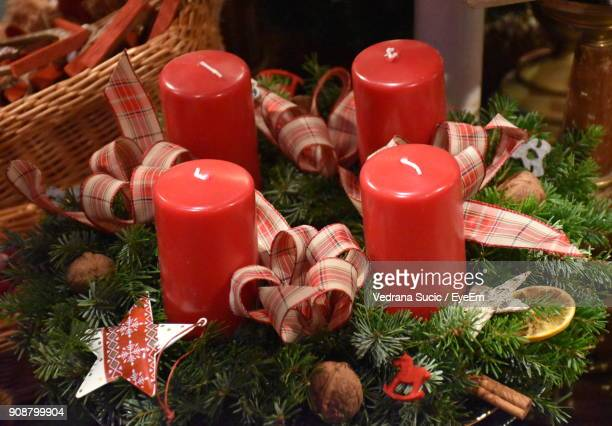 High Angle View Of Red Candles On Christmas Tree