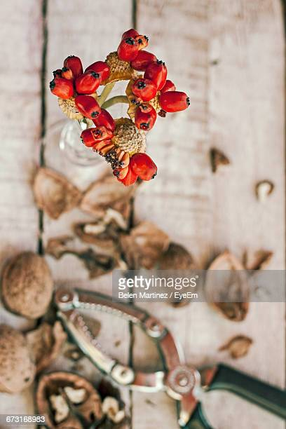 High Angle View Of Red Flower Vase By Nutcrackers And Walnuts On Floorboard