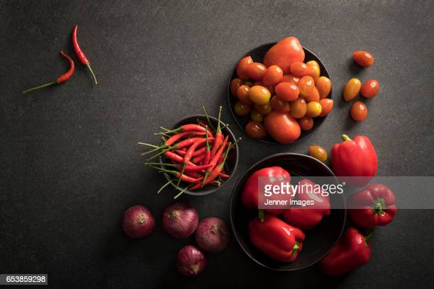 High Angle View Of Red Fruits And Vegetables.