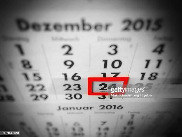 High Angle View Of Red Reminder On Number 24 In Calendar