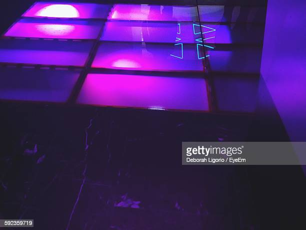 High Angle View Of Reflection On Pink Floor In Nightclub