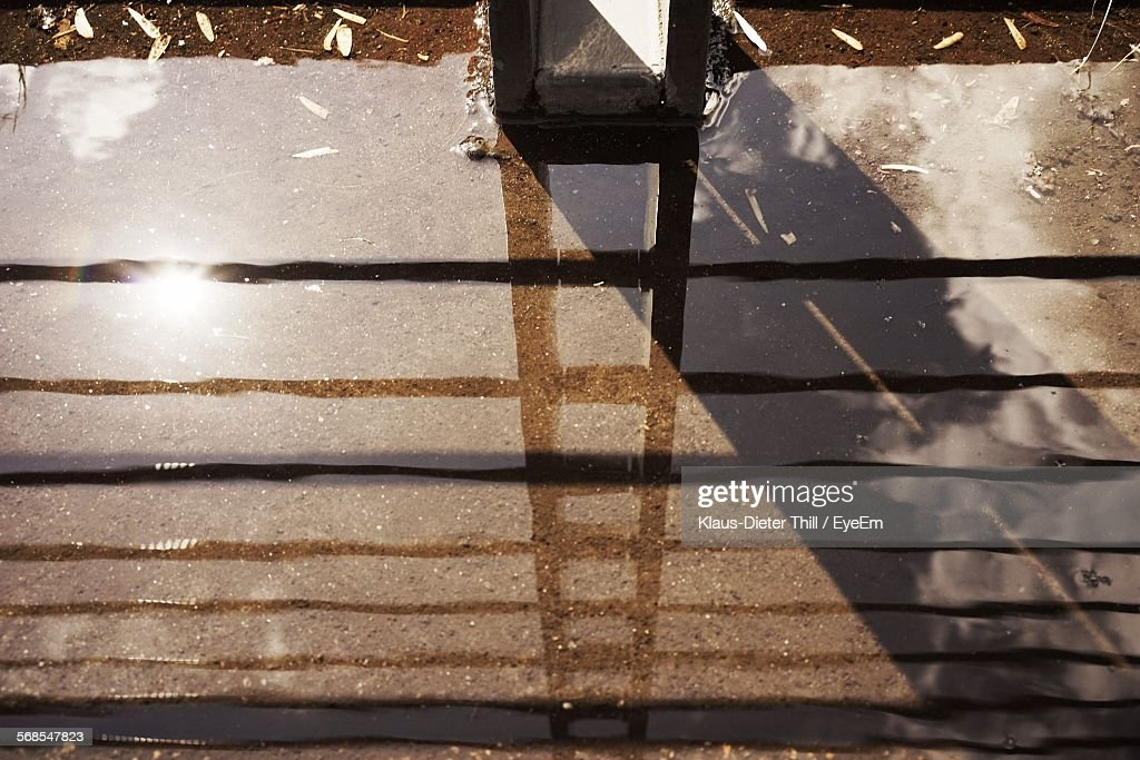 High Angle View Of Reflection On Water In Field : Stock Photo