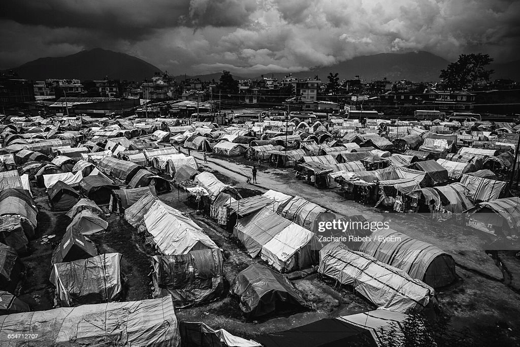 High Angle View Of Refugee Camp On Field : ストックフォト