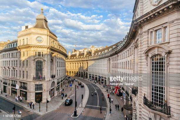 high angle view of regent street, london, england, uk - city of westminster london stock pictures, royalty-free photos & images