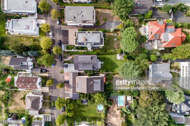 high angle view of residential buildings in city - north rhine westphalia stock pictures, royalty-free photos & images