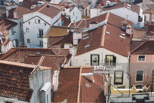 high angle view of residential buildings in city - bortes stockfoto's en -beelden