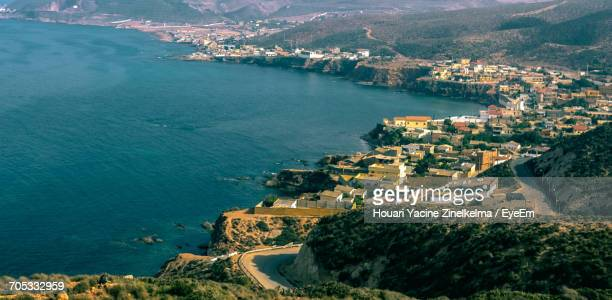 high angle view of residential district - oran algeria photos et images de collection