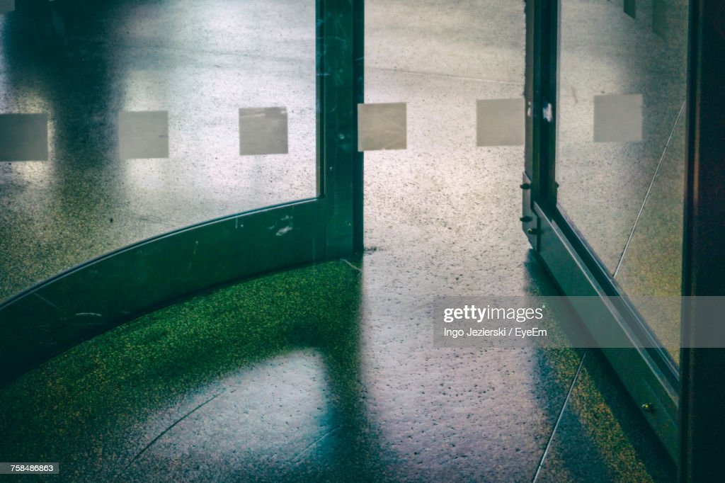High Angle View Of Revolving Door At Supermarket : Stock Photo