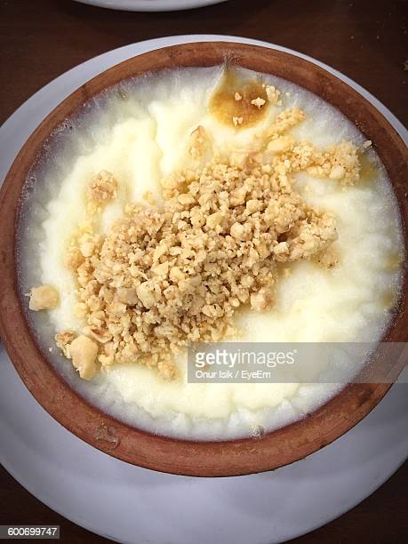 High Angle View Of Rice Pudding Served In Bowl On Table