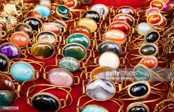 High Angle View Of Rings For Sale At Market