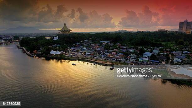 High Angle View Of River Against Sky During Sunset In City