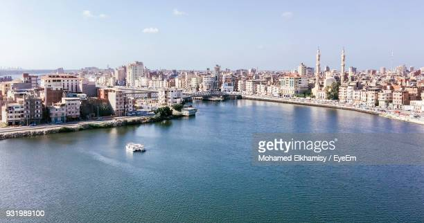 high angle view of river against sky in city - north africa stock pictures, royalty-free photos & images