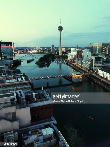 high angle view of river and buildings in city - north rhine westphalia stock pictures, royalty-free photos & images
