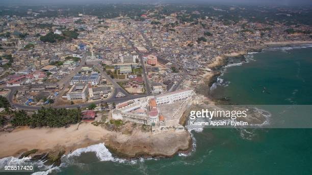 high angle view of river and cityscape - ghana stock pictures, royalty-free photos & images