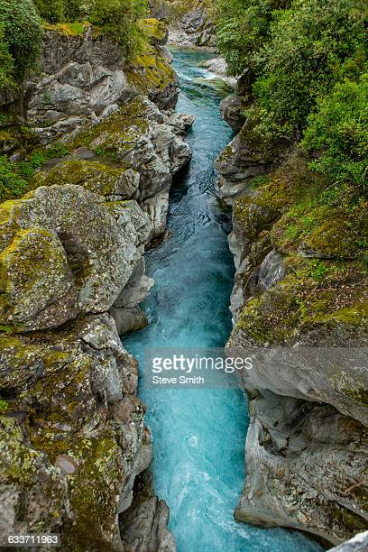 High angle view of river in rock formation