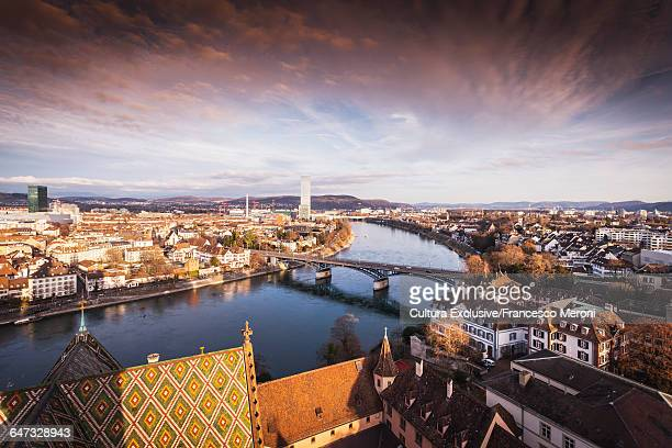 High angle view of river Rhine and rooftops of Basel, Switzerland