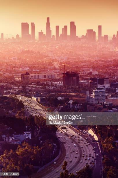 high angle view of road amidst buildings in city - cidade de los angeles imagens e fotografias de stock