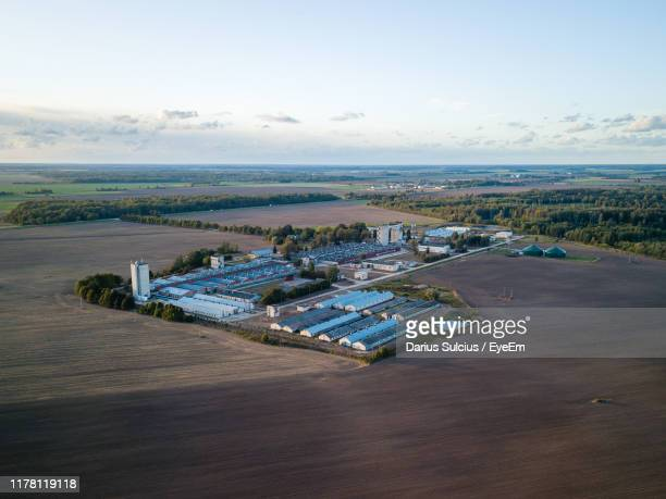 high angle view of road amidst field against sky - pig in shit stock pictures, royalty-free photos & images