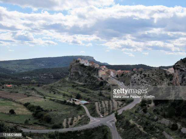 high angle view of road amidst landscape against sky - castellon de la plana stock pictures, royalty-free photos & images