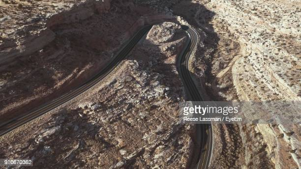 High Angle View Of Road Amidst Landscape