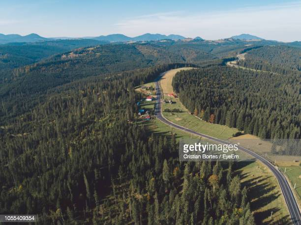 high angle view of road amidst trees against sky - bortes ストックフォトと画像