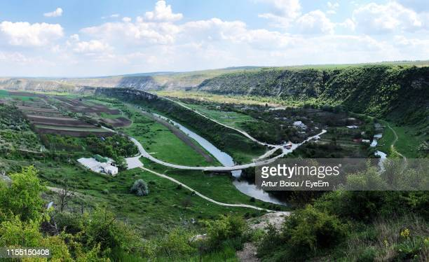 high angle view of road amidst trees against sky - moldova stock pictures, royalty-free photos & images