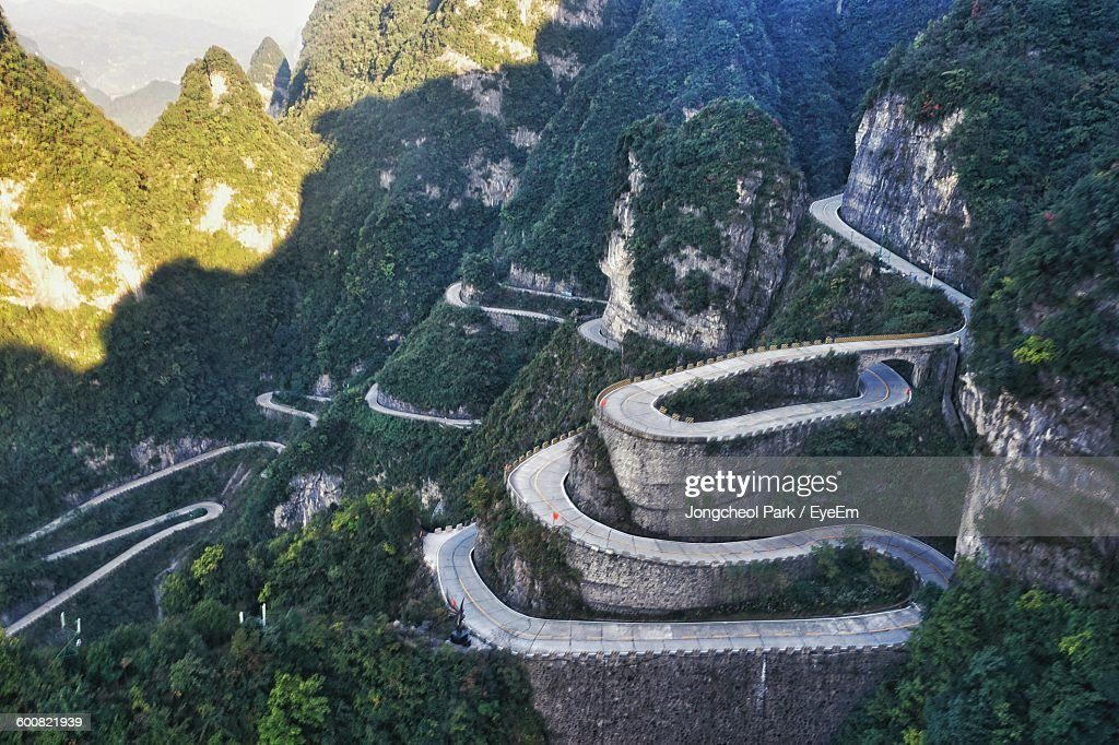 High Angle View Of Road At Tianmen Mountain : Stock Photo
