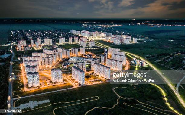 high angle view of road by buildings in city against sky - rostov on don stock pictures, royalty-free photos & images