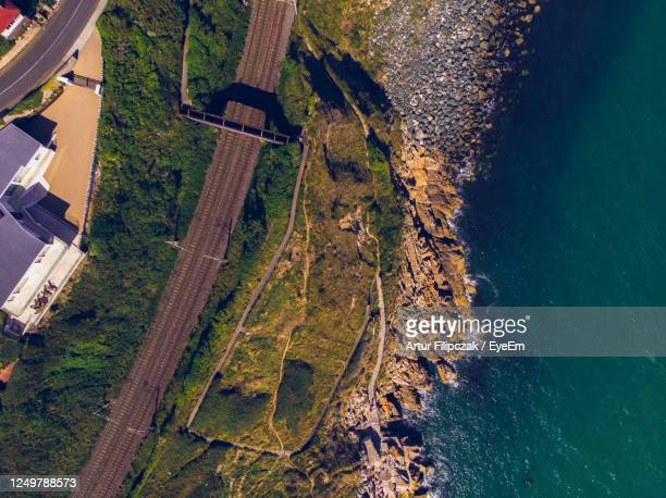 high angle view of road by trees in city - dalkey stock pictures, royalty-free photos & images