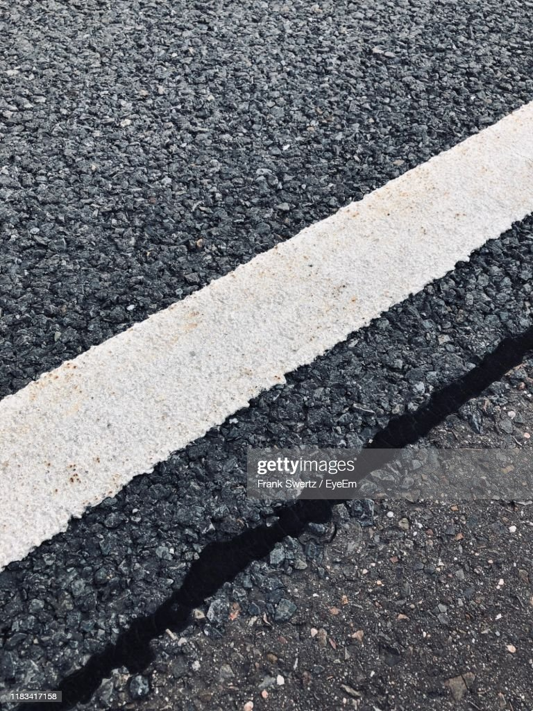 High Angle View Of Road Marking : Stock-Foto