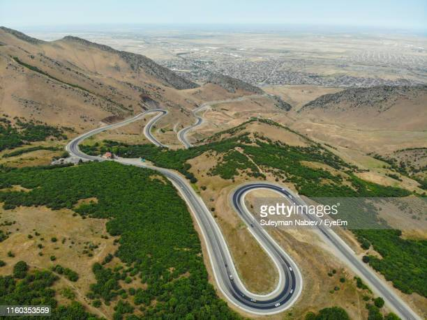 high angle view of road on landscape against sky - 北コーカサス ストックフォトと画像