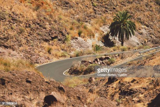 high angle view of road on mountain - bortes cristian stock photos and pictures