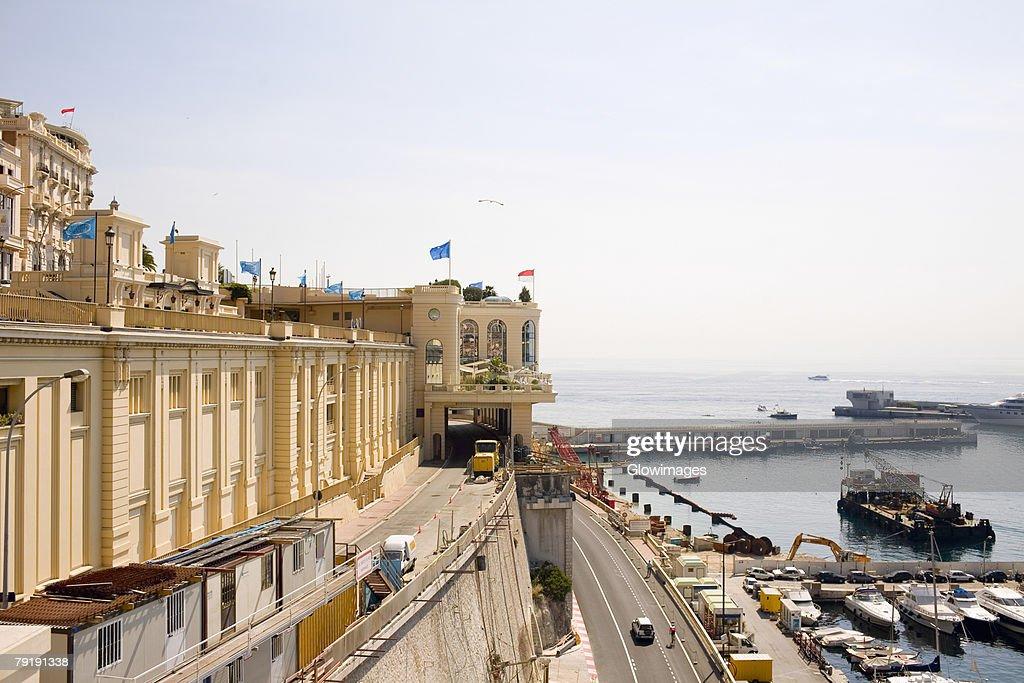 High angle view of road passing near a harbor, Monte Carlo, Monaco : Stock Photo