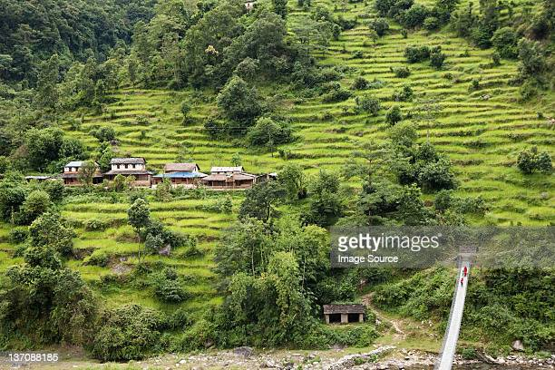 high angle view of road to chitwan, nepal - chitwan stock pictures, royalty-free photos & images
