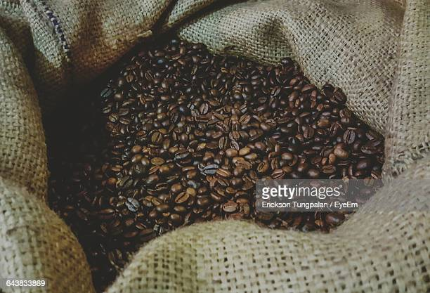 High Angle View Of Roasted Coffee Beans In Sack