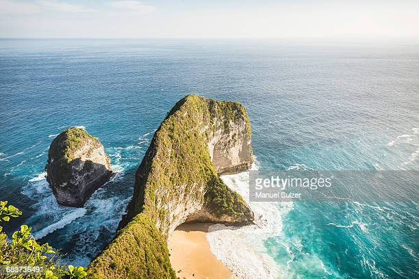 High angle view of rock formation and sea, Peluwang, South Coast, Nusa Penida, Indonesia
